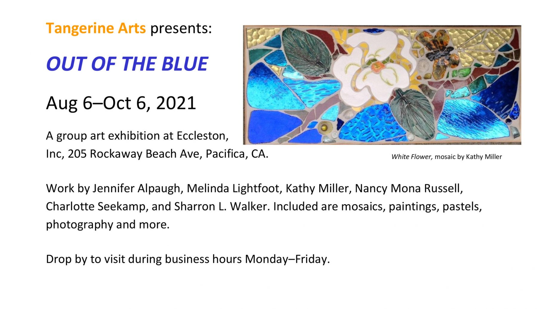 Tangerine Arts presents OUT OF THE BLUE